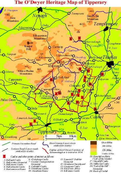 County Tipperary Ireland Map.O Dwyer Clan